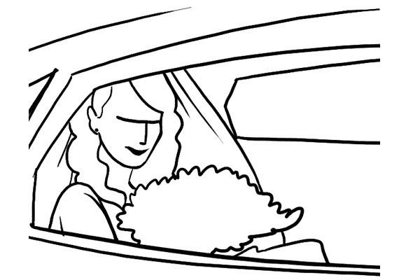 Foto novia en coche de novios