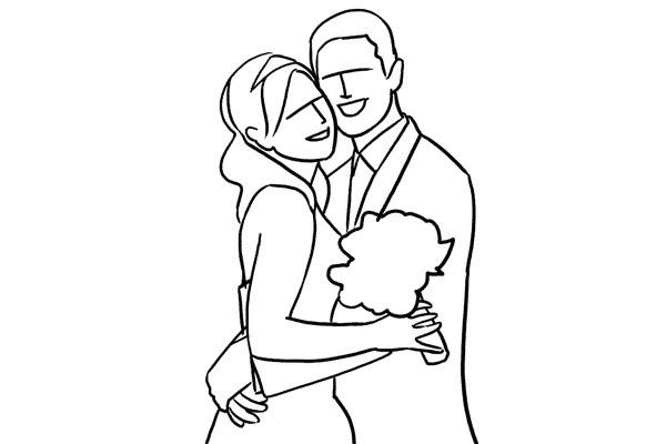 Imagen abrazo de novios