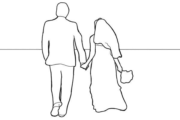 Poses para fotos de boda, novios caminando