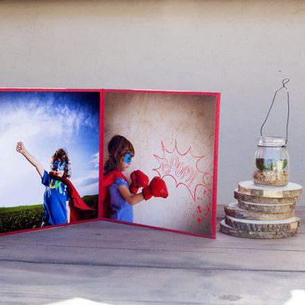 Carpeta Flores Rojo para 2 fotos