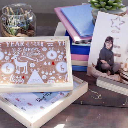 Cajas Woody Navidad17, foto con peana, álbumes estudio con material Canvas