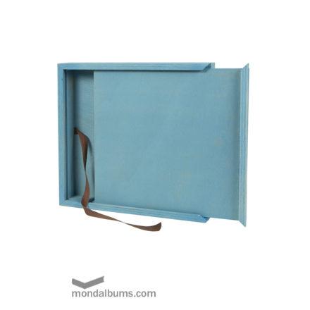 caja porta fotos teñida de azul